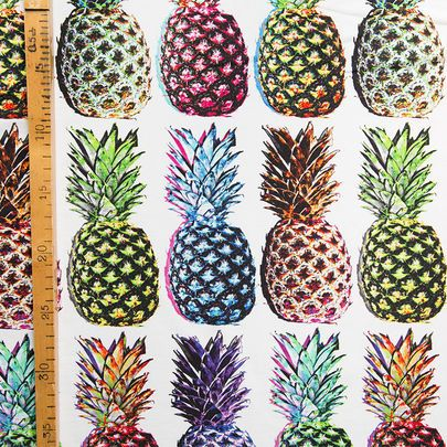 Digiprintti: Ananas-jersey / Pineapples single jersey, digital print / Käpynen