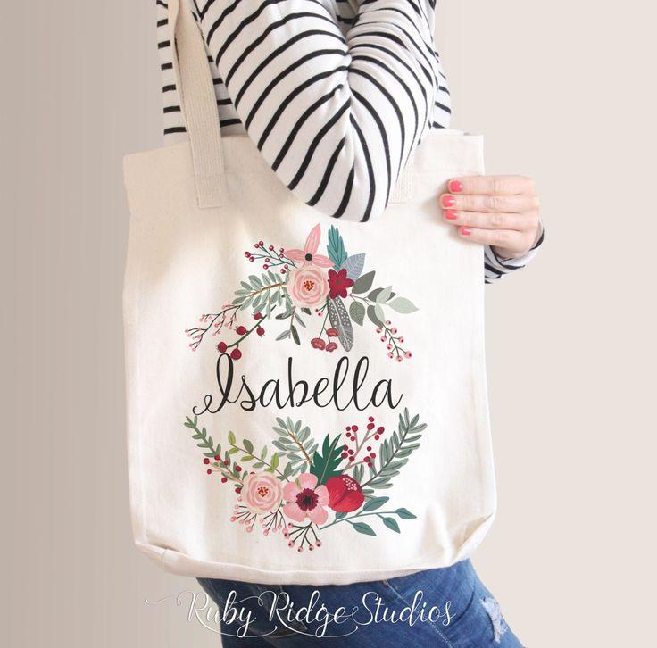 Personalised Name Marsala Floral Wreath Tote Bag, Bridesmaid Tote Bag, Bridesmaid Gift, Custom Floral Tote Bag by RubyRidgeStudios on Etsy https://www.etsy.com/listing/251053984/personalised-name-marsala-floral-wreath