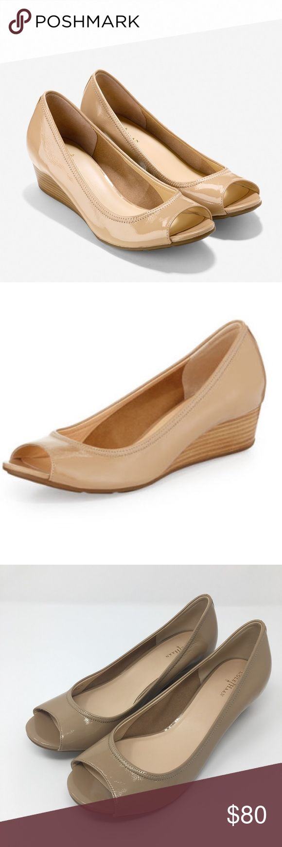 Cole Haan Tali Peep Toe Wedges Nike Air Size 10 Cole Haan Tali Peep Toe Wedge Leather Nike Air Size 10 Nude Tan Heels Shoes  These beautiful Cole Haan Tali peep toe wedges are practically new. Worn inside to be tried on a couple times but never worn outside. See tiny marks on sole. Women's size 10. Nude/tan leather color. Nike Air technology. Heel is about 1.5 inches or 40 millimeters. Cole Haan Shoes Wedges