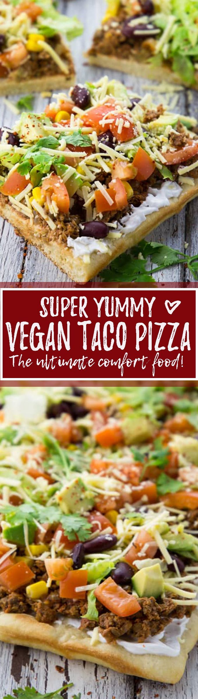 This vegan taco pizza with lentil walnut meat is the perfect comfort food! It's one of my favorite recipes. I mean how much better can pizza actually get?!
