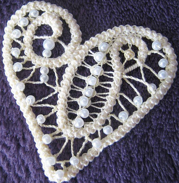 Romanian Point Lace crochet braid with beads