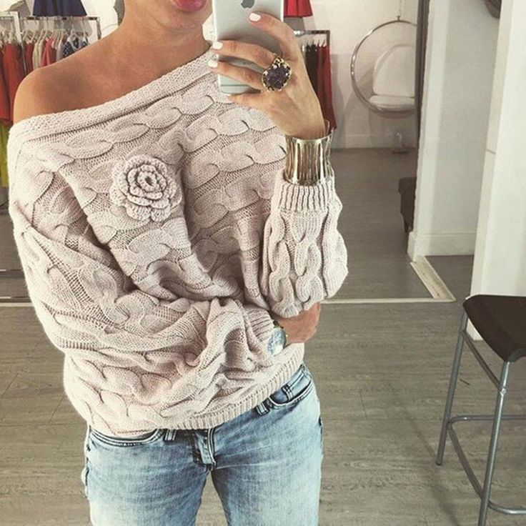 Winter Women Ladies Jumpers Sweater Twisted Batwing Sleeve Off Shoulder Knitted Pullover Jersey