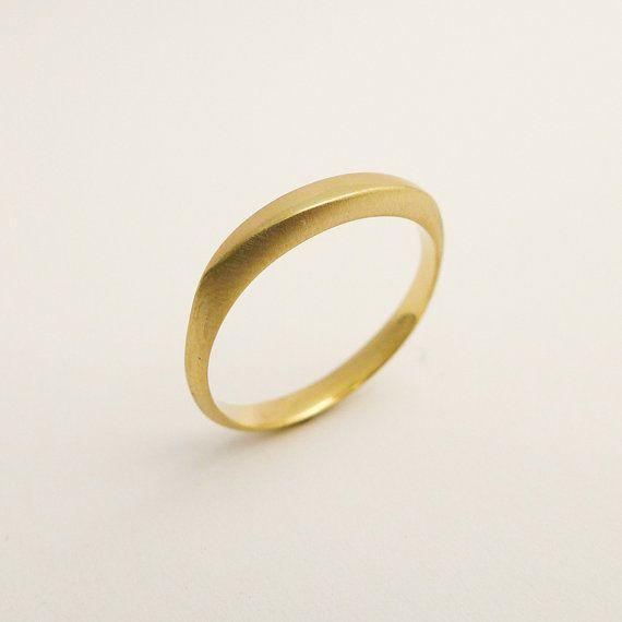 Brushed gold wedding band Delicate gold wedding ring Simple | Etsy