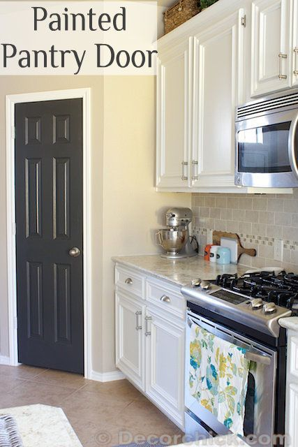 Painted Pantry Door - Easy DIY Project. Door color:  Iron Ore by Sherwin Williams.   Satin finish (not glossy) -  Surface Enamel in latex.  Walls are SW - Balanced Beige.  Cabinets: SW - Alabaster -- Pro Classic Alkyd Interior Enamel.  http://decorchick.com/white-kitchen-makeover-reveal/