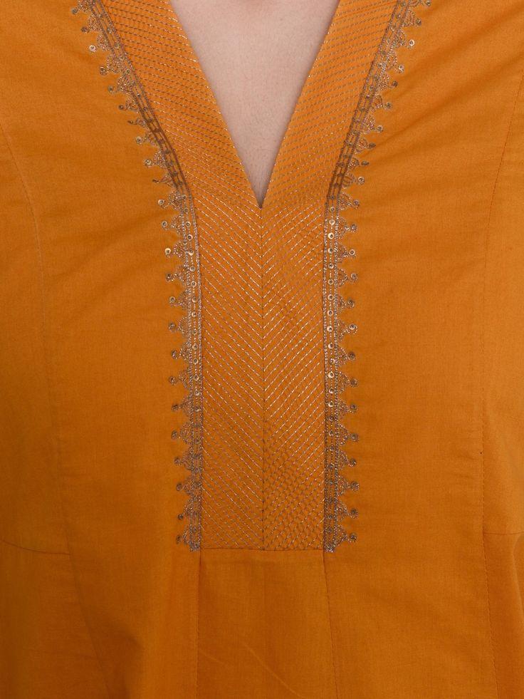 Mustard Cambric Cotton V Neck Embroidered Kalidar Kurta