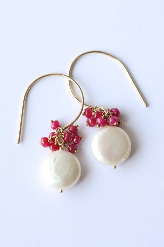 Pearl and Ruby earrings Fresh water pearl by moemiSugimura on Etsy