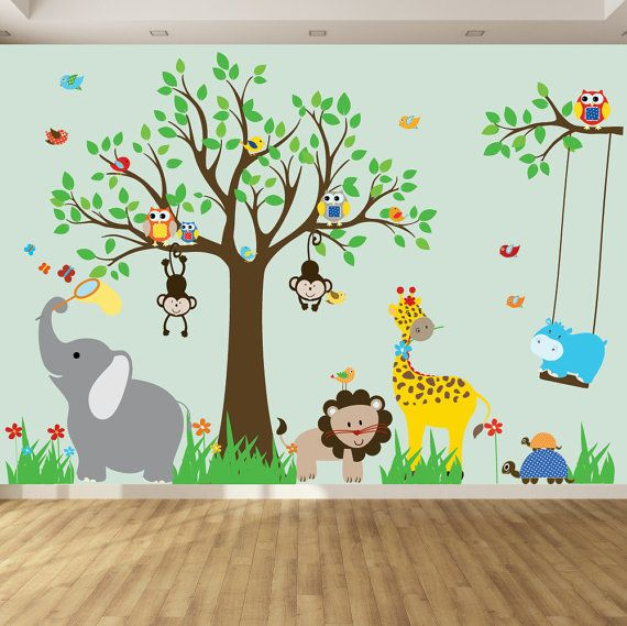 Childrens Wall Decal - Jungle Safari Tree Monkeys Elephant Giraffe Vinyl Wall Decals Nursery