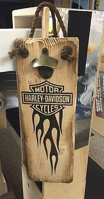 Solid Wood Plaque Beer Opener For Man Cave- Motorcyle/Harley Davidson/Beer Lover