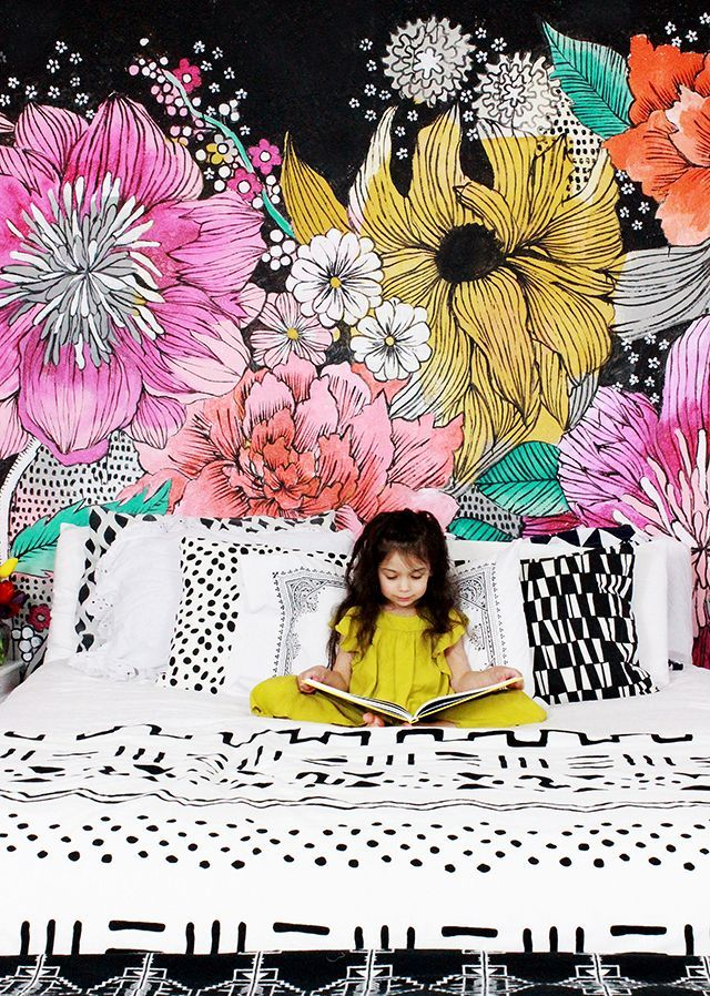 Two years ago I decided to paint a giant black and white flower mural  on our bedroom wall. It was a really fun project and a SUPER cheap ...