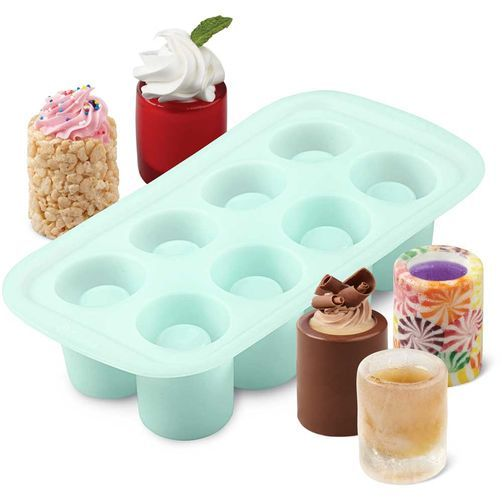 Round Shot Glasses Silicone Mold  ($8)    Oven and freezer safe - Make your own edible shot glass from ice, Candy Melt candy, gelatin, crisped rice cereal treats and more. You can then add your favorite filling, liquor or beverage.