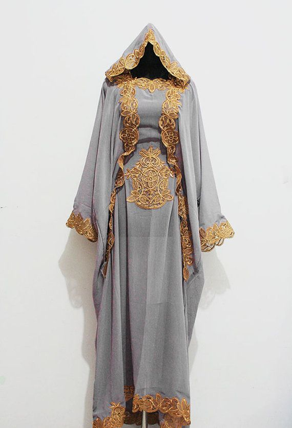 Moroccan Hoodie Kaftan Gray Chiffon Fancy FULL Gold Embroidery Dubai Abaya Maxi Dress farasha Hijab Kaftan Style Jalabiya - For Women on Etsy, $77.00