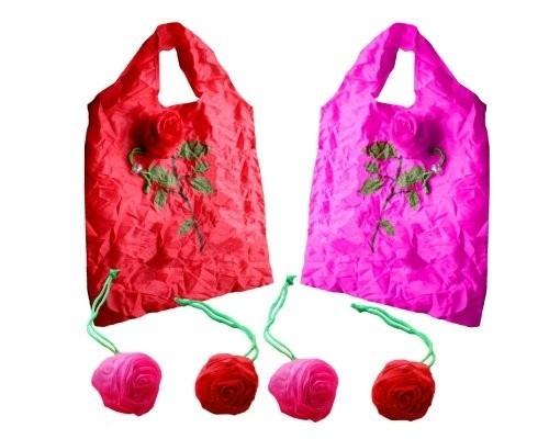 Bolsa de la compra, plegable y se convierte en una bonita rosa.