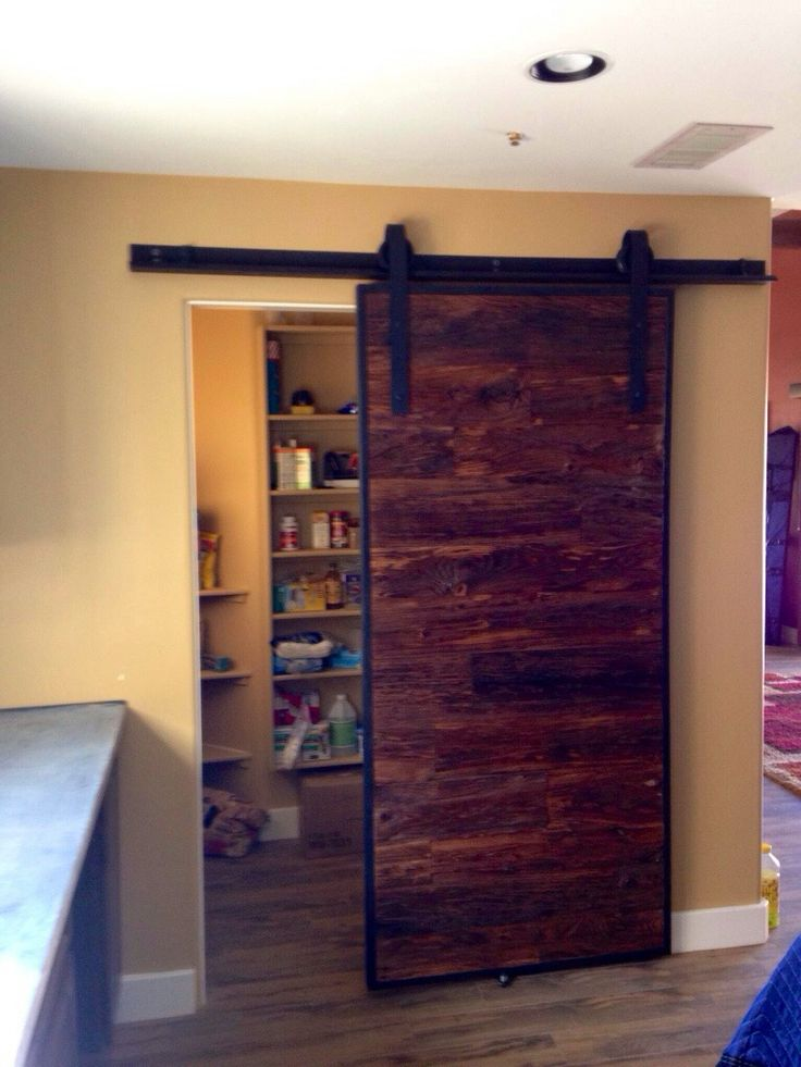 Mushroom wood sliding barn door pantry porter barn wood for Sliding pantry doors