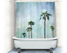 Palmiers rideau de douche, aqua décor de maison, tissus, turquoise, bleu, paysage, nature