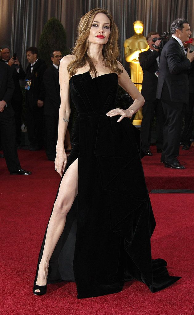 Angelina Jolie in Versace at the 2012 Oscars. With a straight face.