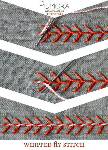 Pumora's embroidery stitch-lexicon: the whipped fly stitch