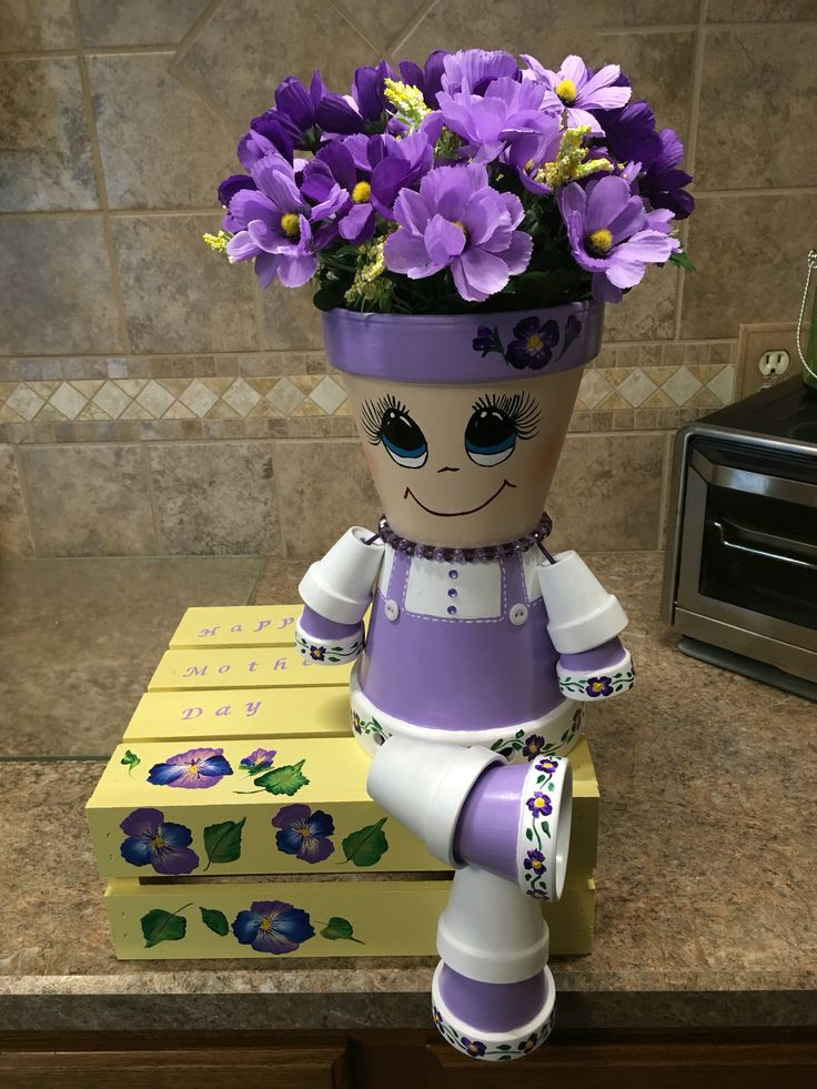 Lavender Clay Pot Girl, Clay Pots, Terra Cotta Pots, Pot People, DIY
