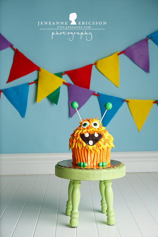 Mr. G is ONE – Sonoma County Cake Smash Photographer » Jeneanne Ericsson Photography monster theme boy