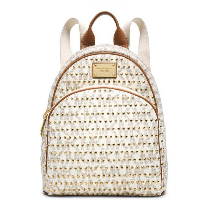 MICHAEL Michael Kors Jet Set Travel Small Studded Backpack White