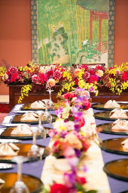 秋、11月の装花、目黒のホテル雅叙園東京さまへ。   華やかに、少し大正浪漫風にというリクエストでした。    ハネムーン中のお二人から...