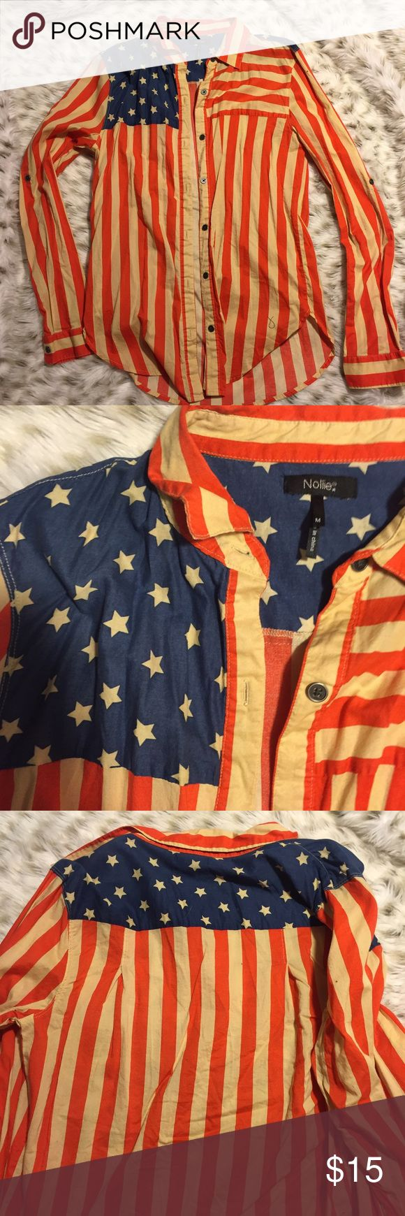 Nollie American Flag Button Down Shirt American flag button down. Only worn once. Nollie size medium. No flaws so cute! Nollie Tops Button Down Shirts