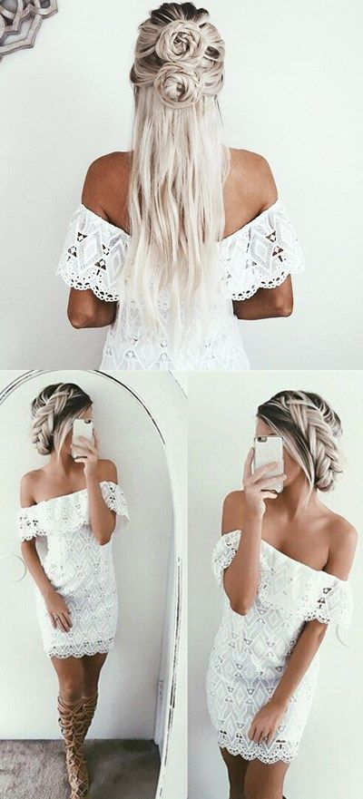 white homecoming dresses, off the shoulder homecoming dresses, bodycon homecoming dresses, lace homecoming dresses