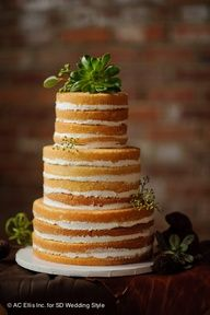 unfrosted wedding cake with succulents