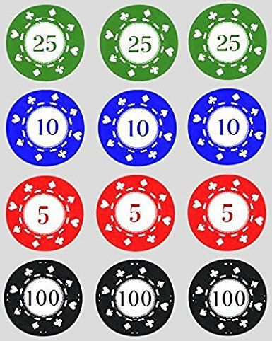 12 Poker Chips rice paper fairy / cup cake 40mm toppers pre cut decoration