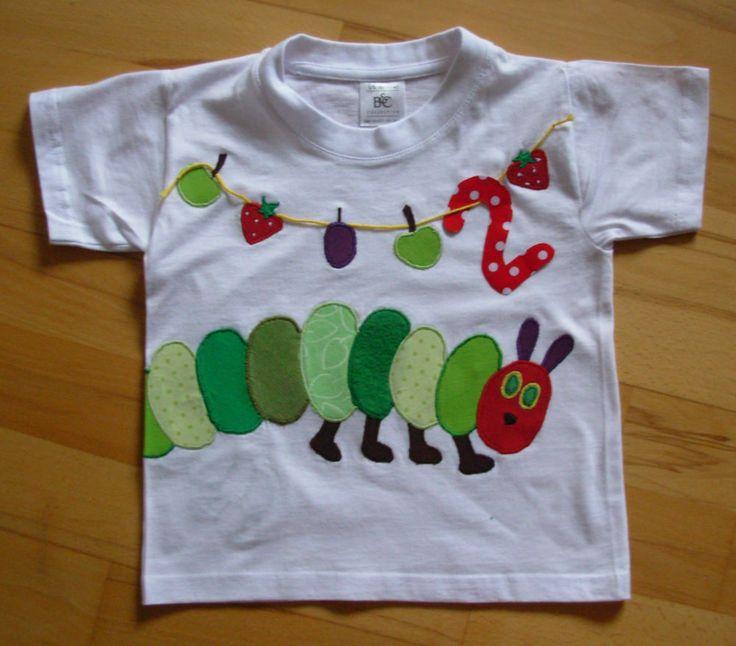 UNIKAT Süßes Geburtstags-Shirt m. Applikation KLEINE RAUPE, Gr.86/92 (1-2J.) NEU