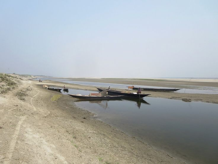 Long wooden boats are used to fish and travel on the Jamuna River east of Bogra, Bangladesh.
