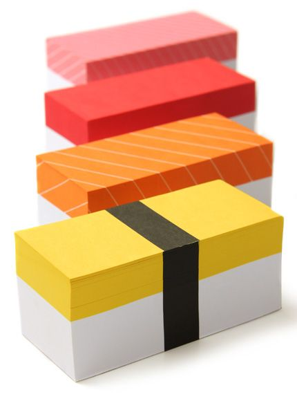 sushi memo sticky notes.cute! and now i want sushi for lunch.