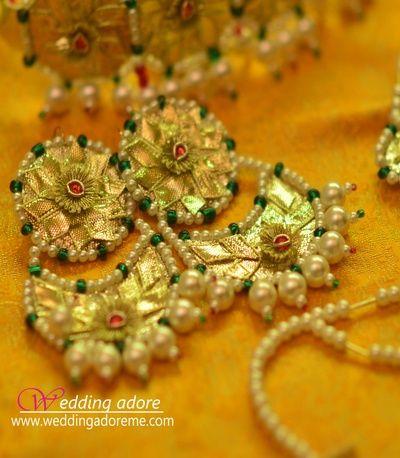 gota earrings, gota jewelry, gota chaandbala, pearl drops, mehendi jewelry