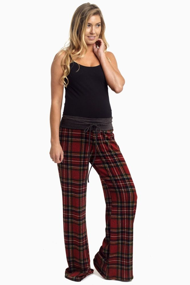 Red-Plaid-Tie-Front-Maternity-Pajama-Pants