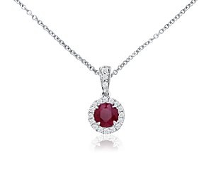 Ruby and Micropavé Diamond Pendant in 18k White Gold #BlueNile: My Birthday