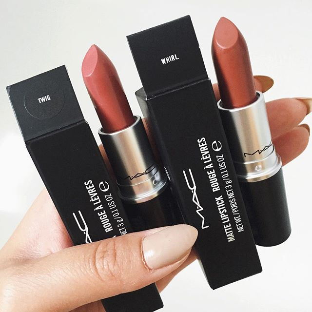 """MAC Lipstick in """"Twig"""" (soft muted brownish-pink) and """"Whirl"""" (dirty rose) ✨ Two of my favorite shades!"""