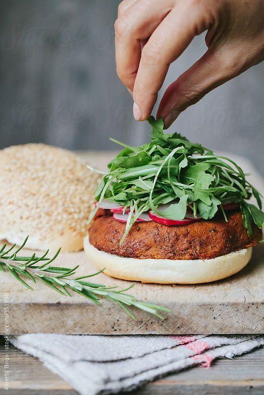 Vegetarian Lentil Burgers Alberto Bogo for Stocksy United