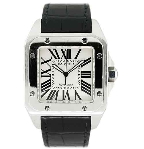 Cartier Santos 100 XL. Cartier introduced this watch in 2004 and based it on the very first wristwatch made by Cartier in 1904.