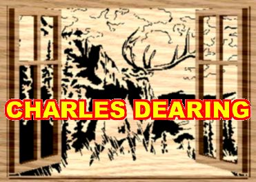 An elk on a hilltop bugling...as seen through open windows (Layered) from Scroll Saw Pattern designer Charles Dearing.