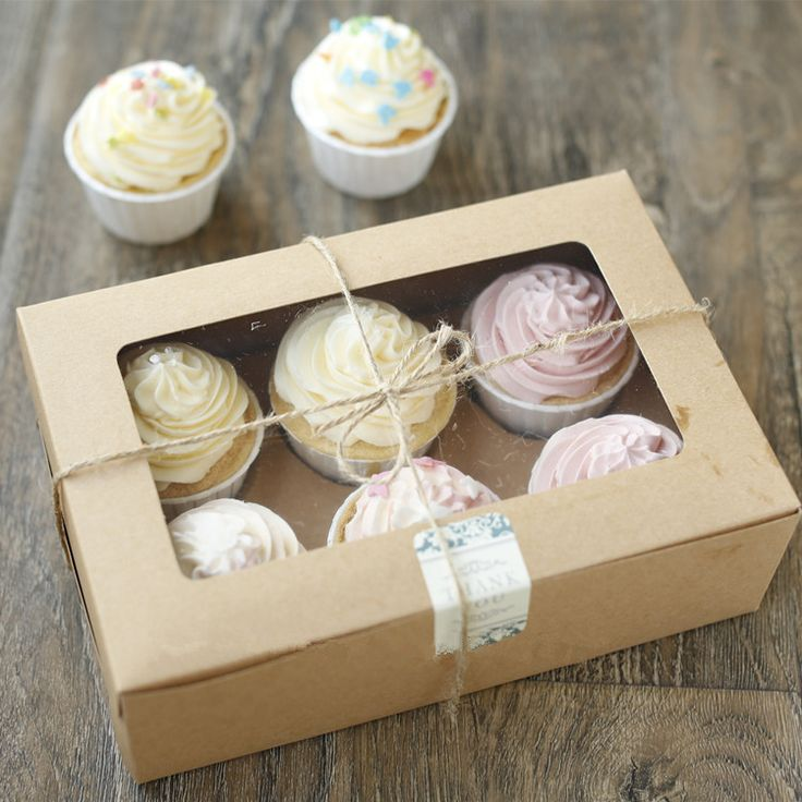 6 pcs Cupcake Cardboard Paper Box with Handle Gift Cake Packaging 24*15.5*8 cm free shipping