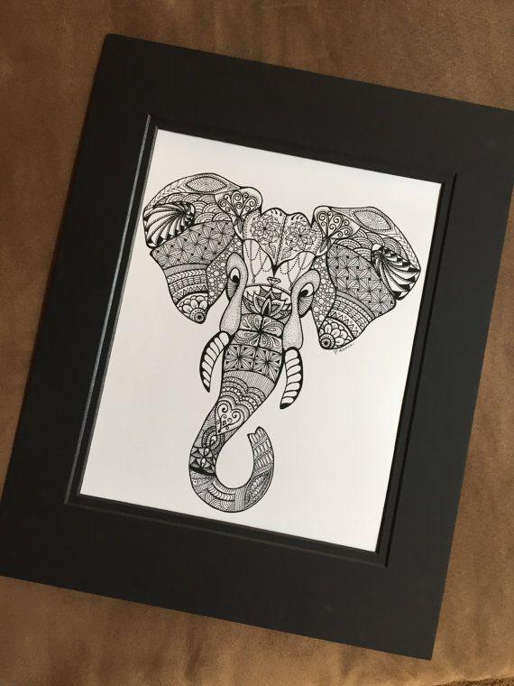 Elephant Head Zentangle Art Drawings Pen by InkyFingersCustomArt