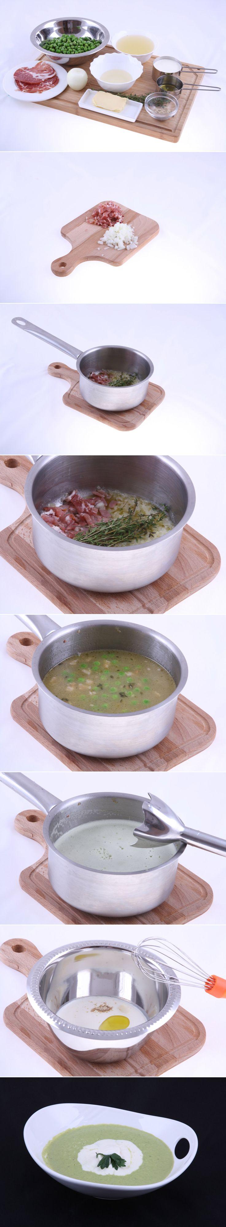 Суп-Велюте из зеленого горошка с трюфельными сливками и ветчиной Коппа. Сегодня мы продемонстрируем рецепт супа французкой кухни. Это блюдо вы легко приготовите за 20 минут (не считая подготовки бульона). Попробуйте, вам понравится! Полный список ингредиентов и способ приготовления блюда вы можете увидеть в...http://vk.com/dinnerday; http://instagram.com/dinnerday #суп #кулинария #еда #велюте #ветчина #рецепт #рецепты #dinnerday #food #cook #recipe #recipes