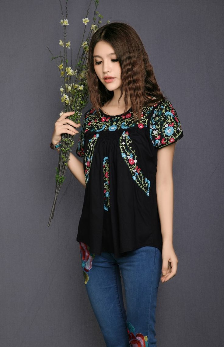 2017 Hot Sale Free Shipping vintage 70s SCALLOP mexican BOHO Ethnic Floral Embroidered Hippie blouses shorts women Tops Free Sz