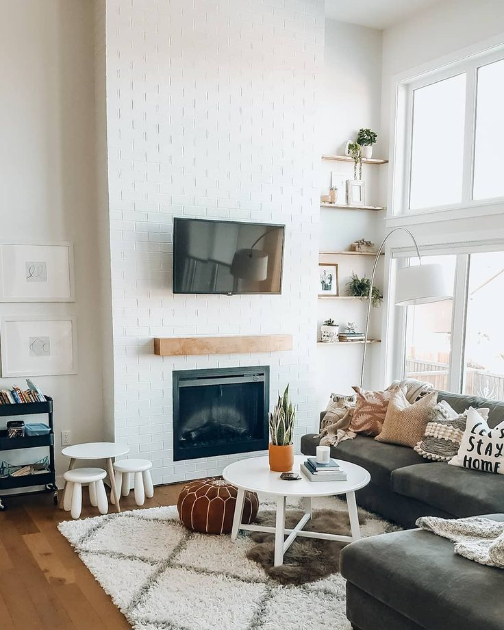 Open Living Room With White Brick Fireplace Cozy Living Room Inspo Home Decor Cozy Living Rooms House Interior