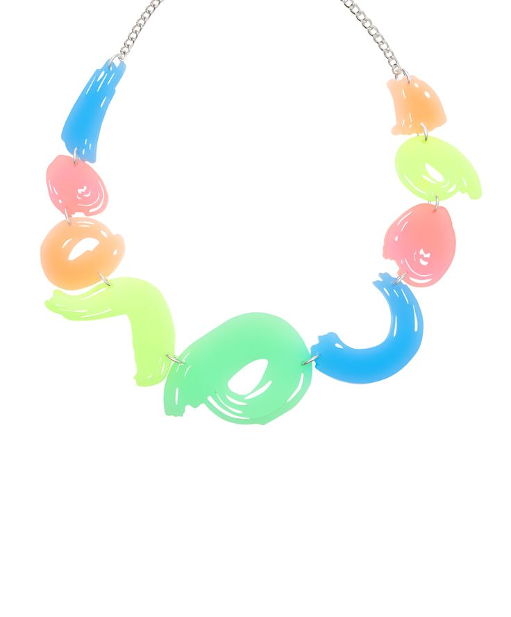 Brushstroke Link Necklace, Pastel Neon - Paint by numbers with the Brushstroke Link Necklace. Inspired by the movement of paint on canvas, abstract acrylic brushstrokes are laser cut in a highlighter hues and hand linked to a silver tone chain. Embrace your inner artist and layer this piece of wearable art over a colourful tee for pastel perfection. Exclusive to Tate and Tatty Devine.