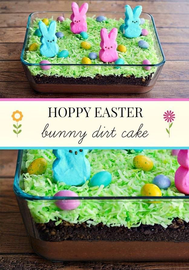 Easter Bunny Dirt Cake | Easter Desserts Recipes to Make this Year | https://homemaderecipes.com/easter-desserts-recipes/