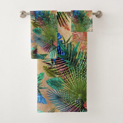 Tropical Ferns Palm and Banana Leaves Bath Towel Set - diy cyo customize create your own #personalize
