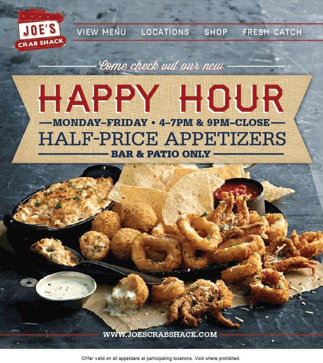 Pinned June 2nd: 50% off appetizers weekdays during happy hours at Joes #Crab Shack #coupon via The #Coupons App