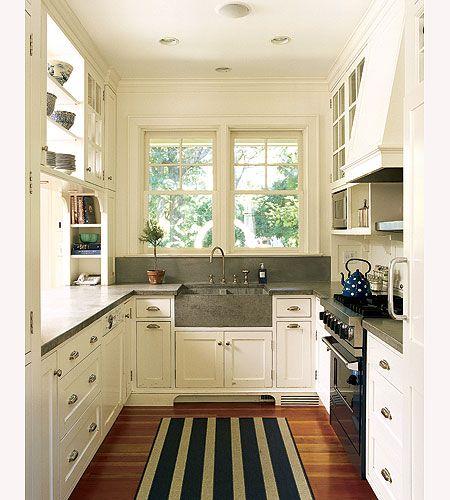 Aisle galley kitchen with windows at the endKitchens Design, Countertops, Small Kitchens, Kitchens Ideas, Farmhouse Sinks, Galley Kitchens, White Cabinets, Kitchen Designs, White Kitchens