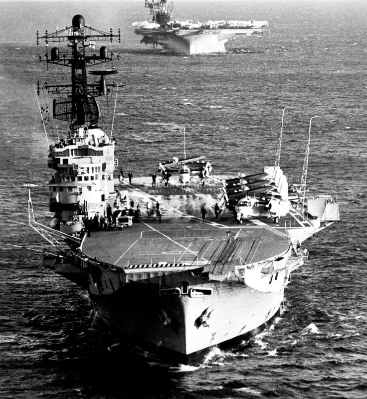 HMAS Melbourne with USS Midway in the background, 16 May 1981.