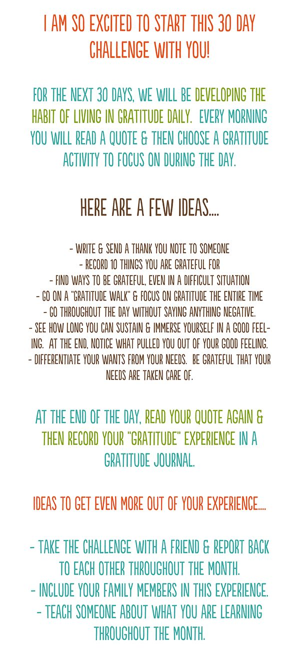 '30 Days of Gratitude' - Challenge (To view the next days, and so on, go to the bottom of the webpage and click 'Previous Page' in the left corner.)